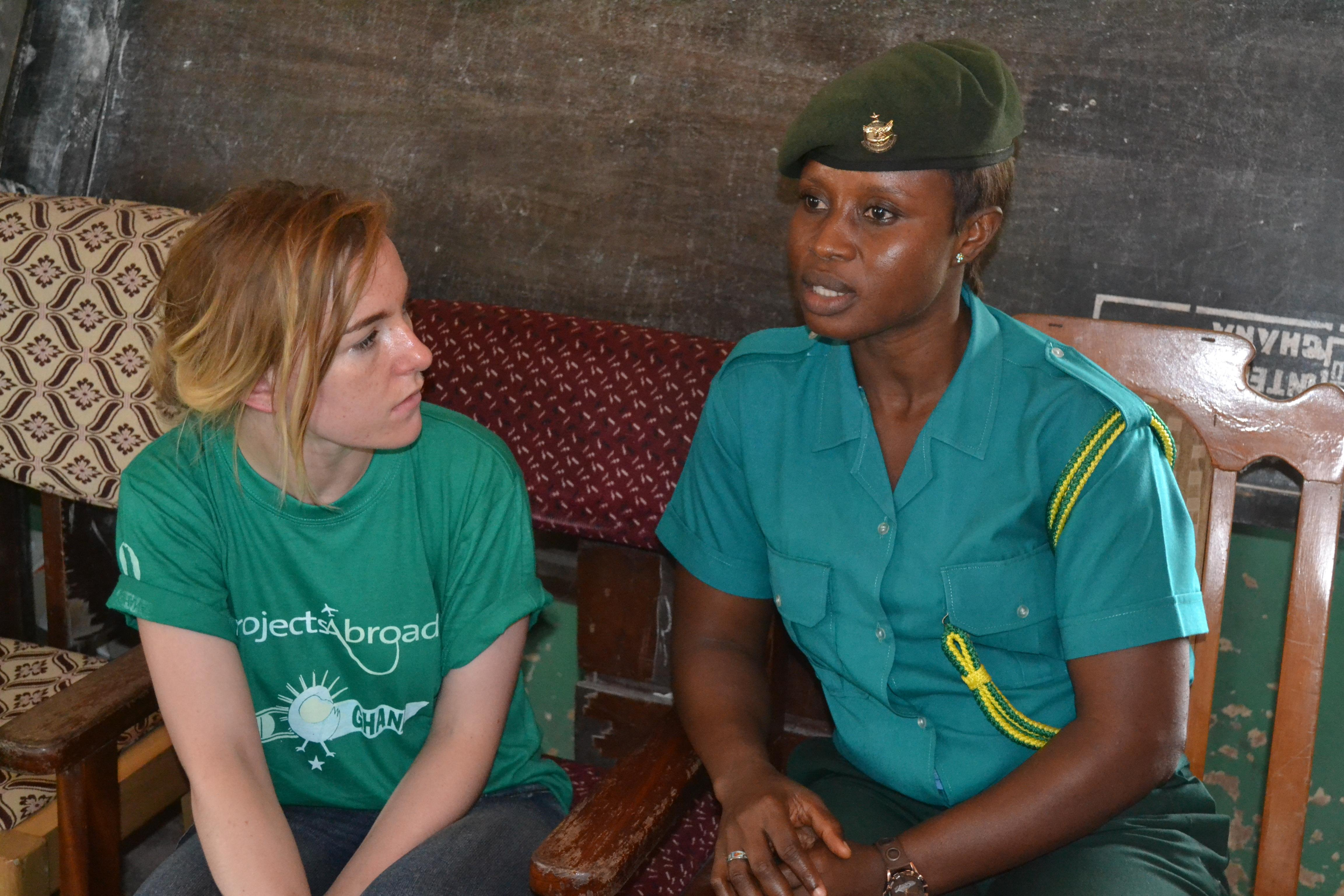 An intern gains human rights work experience interviewing an official on our project for teenagers in Ghana